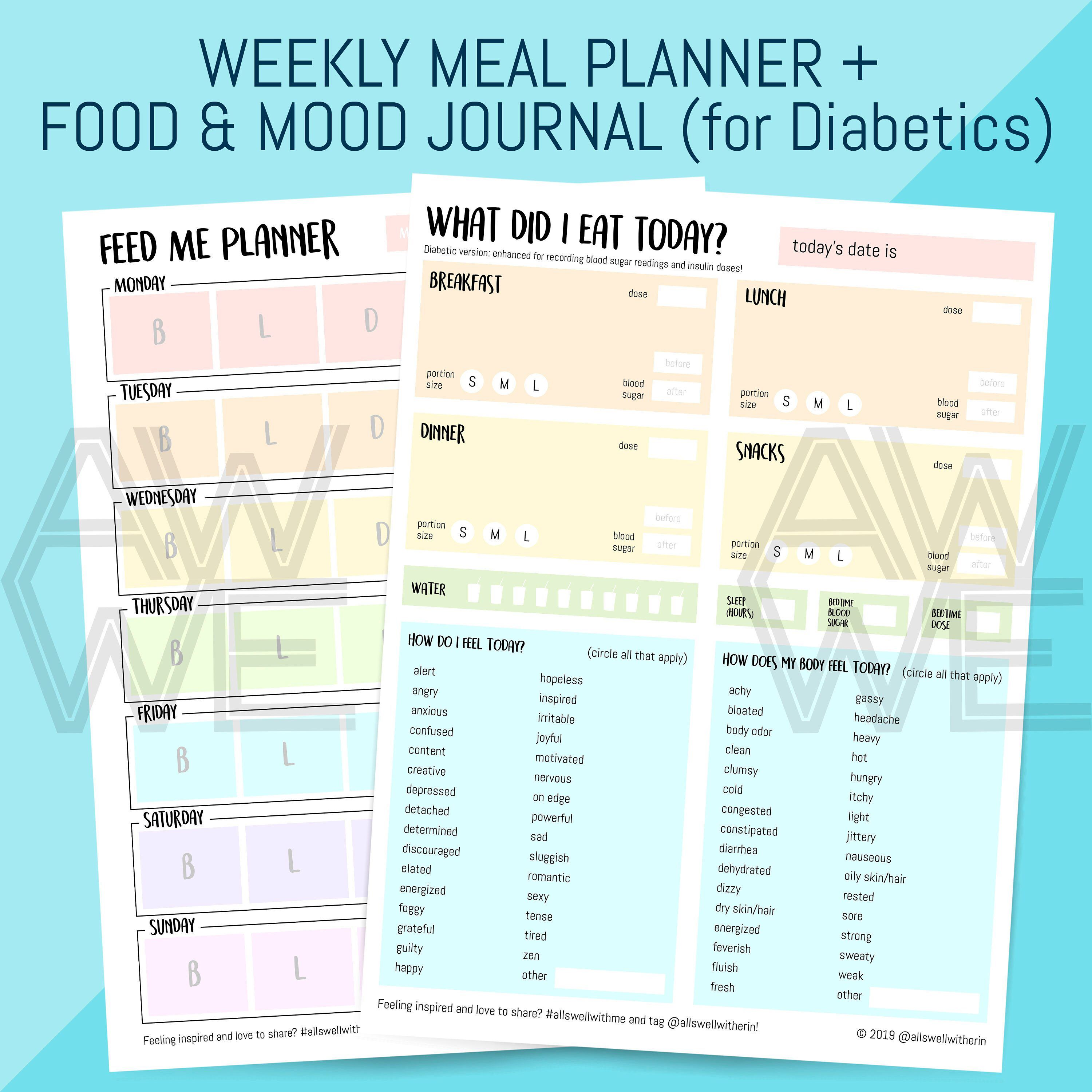 Printable Food Mood Journal For Diabetics Emotion And
