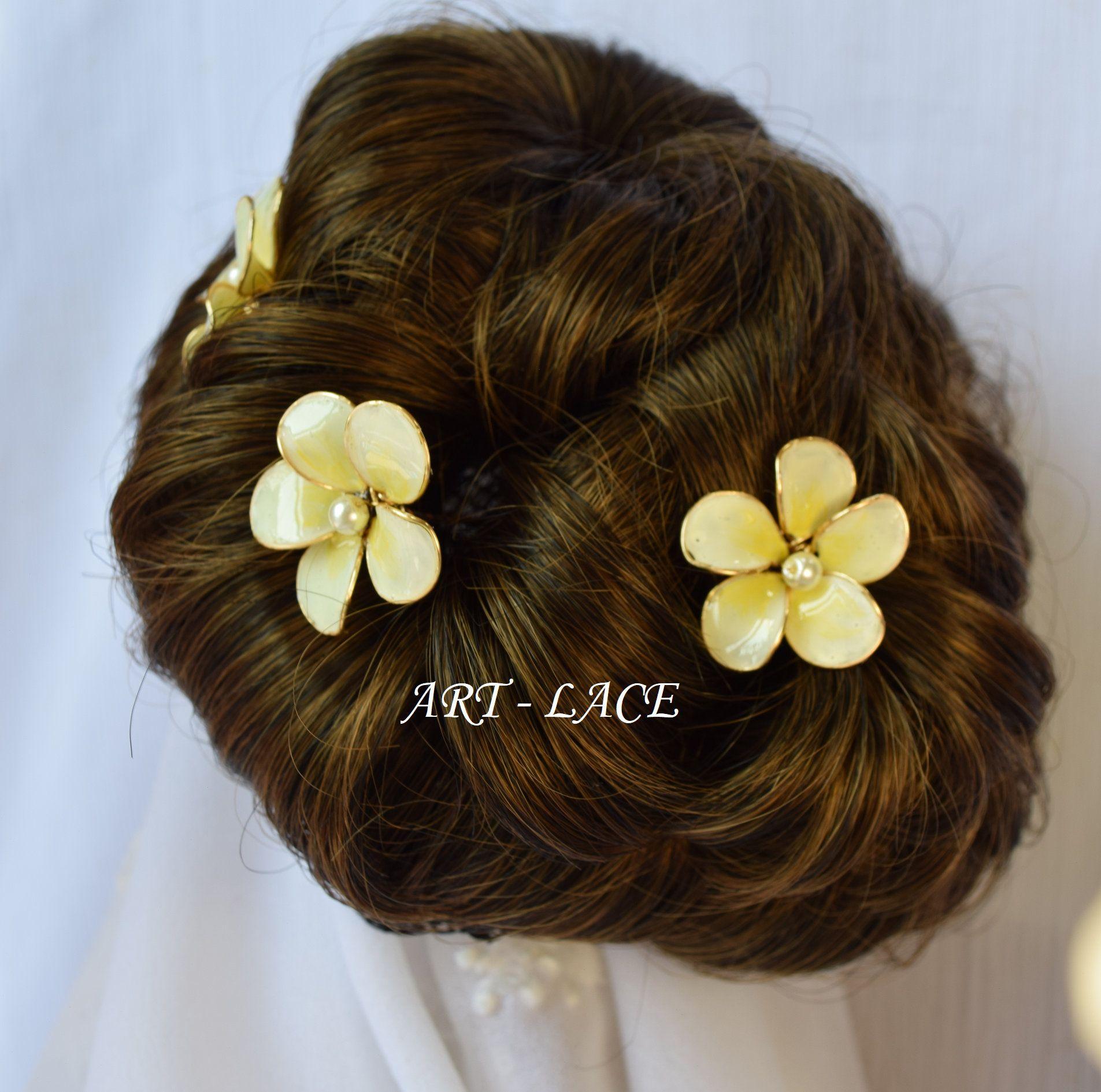 Frangipani hair picks bridal hair picks flower hair sticks for bun latest addition to my etsy shop frangipani hairpicks bridal hair picks izmirmasajfo
