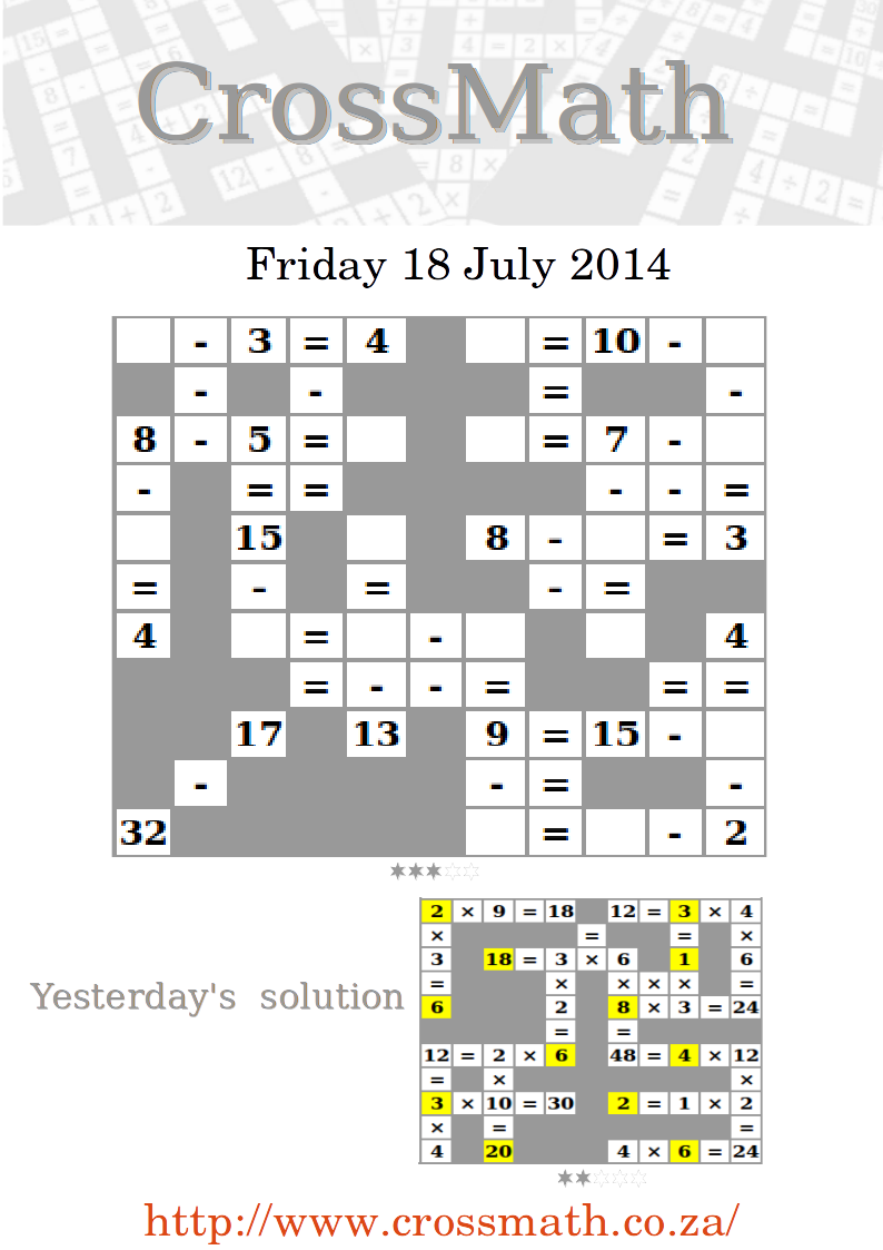 Today we have a level 3 subtraction crossmath puzzle