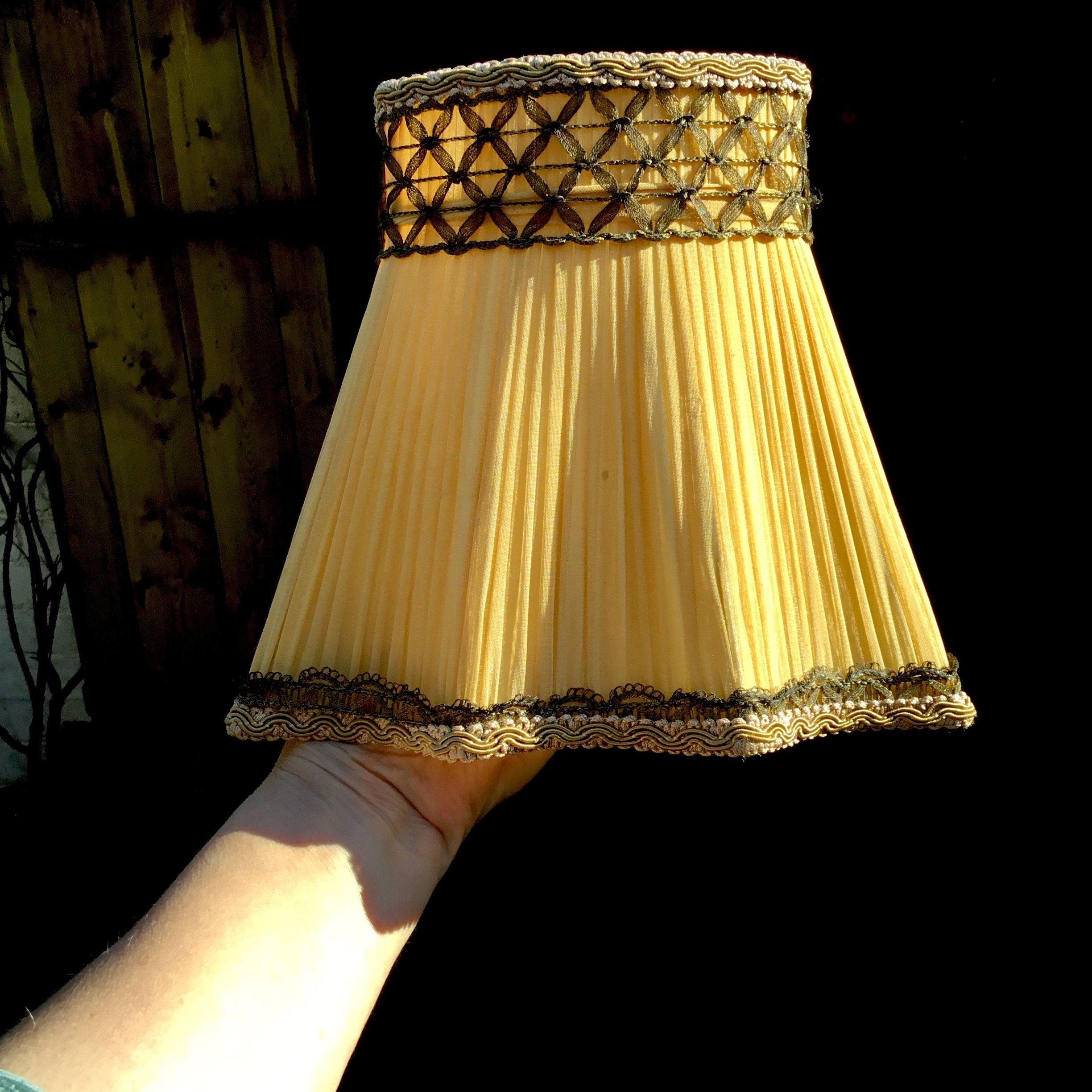 Vintage Lampshade Yellow Pleated Chiffon Silk Gold Brocade Etsy Pleated Fabric Gold Brocade Vintage Lampshades