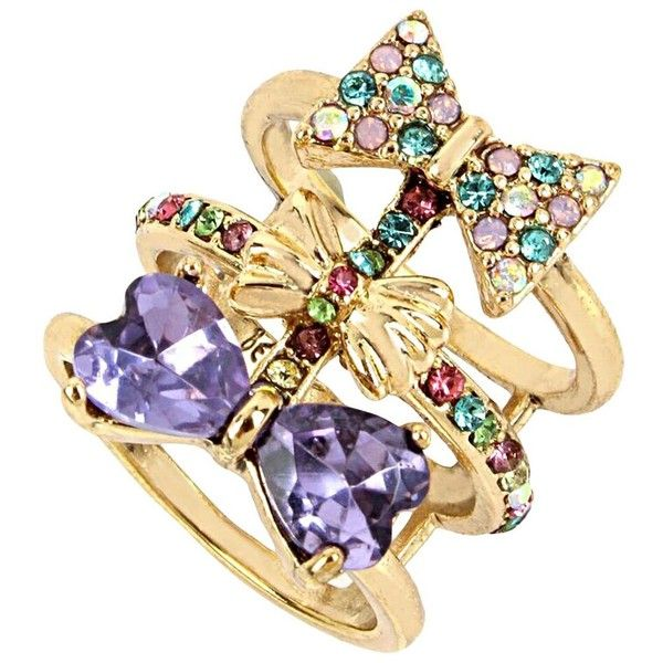 Betsey Johnson Sweet Shop Bow Ring ($45) ❤ liked on Polyvore featuring jewelry, rings, multi, charm rings, betsey johnson rings, multi row ring, charm jewelry and bow rings