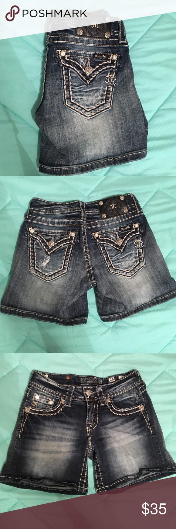Miss Me jean shorts. Miss Me blue jean shorts with rhinestones and white stitching detail on the pockets. Miss Me Shorts Jean Shorts