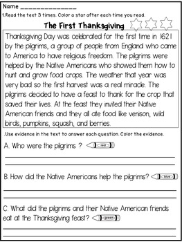 thanksgiving reading comprehension passage and questions teaching resources reading. Black Bedroom Furniture Sets. Home Design Ideas