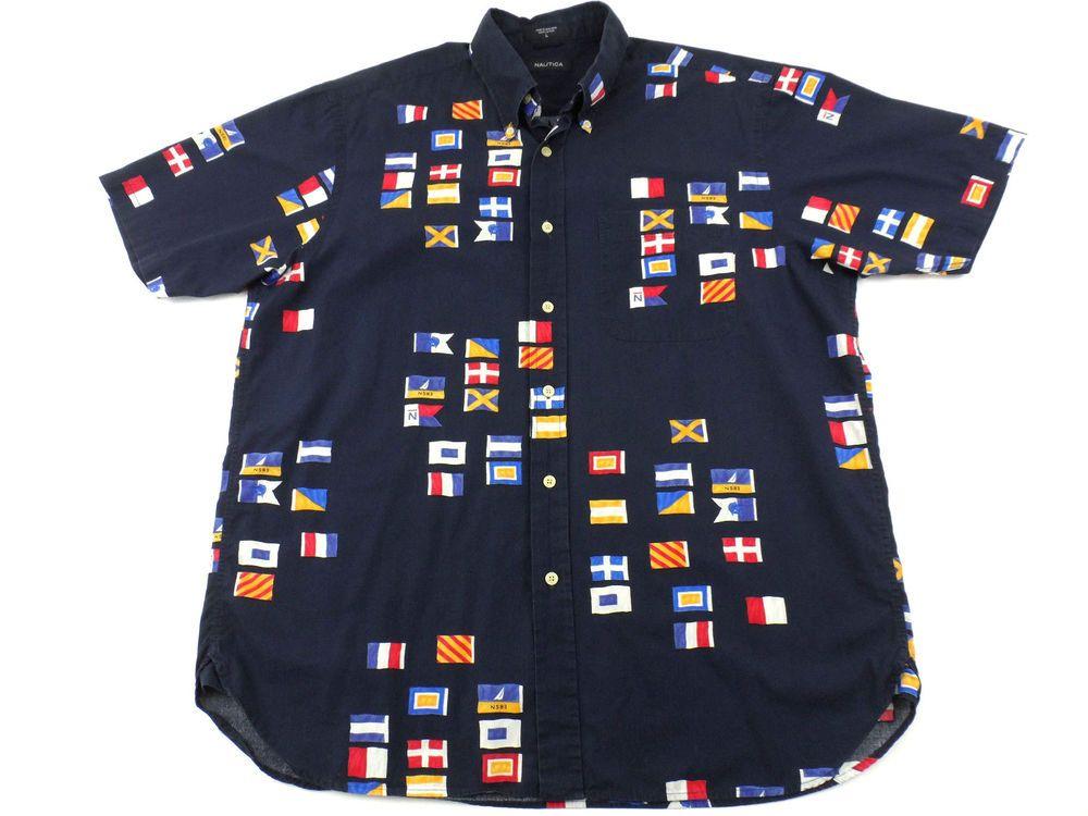 610ec8e22 Nautica Nautical Sailing Boating Flag Button Down Shirt Mens Size Large L  Blue  Nautica  ButtonFront