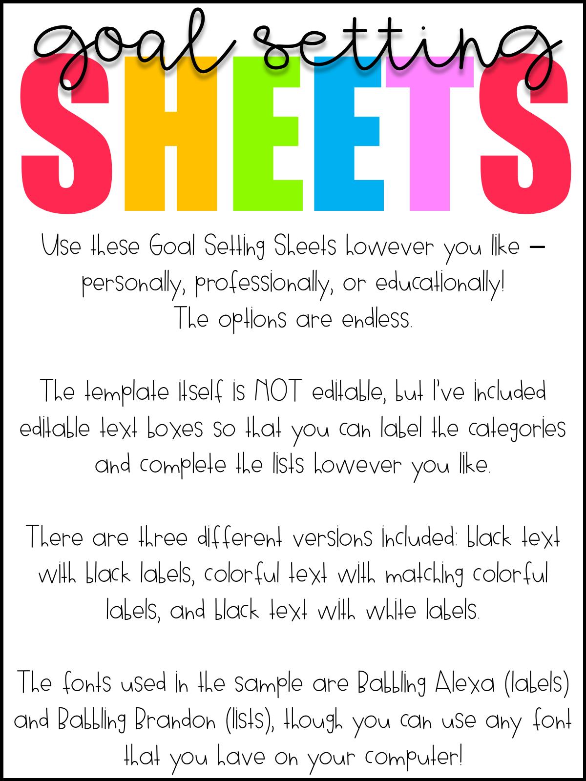Free Download Goal Setting Worksheets