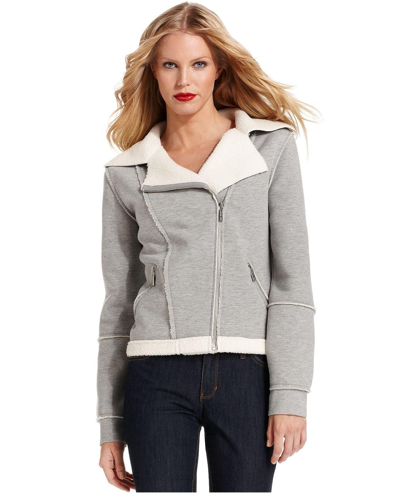 Michael Michael Kors Jacket Seamed Moto Sherpa Womens Jackets Blazers Macy S Blazer Jackets For Women Michael Kors Jackets Jackets [ 1616 x 1320 Pixel ]
