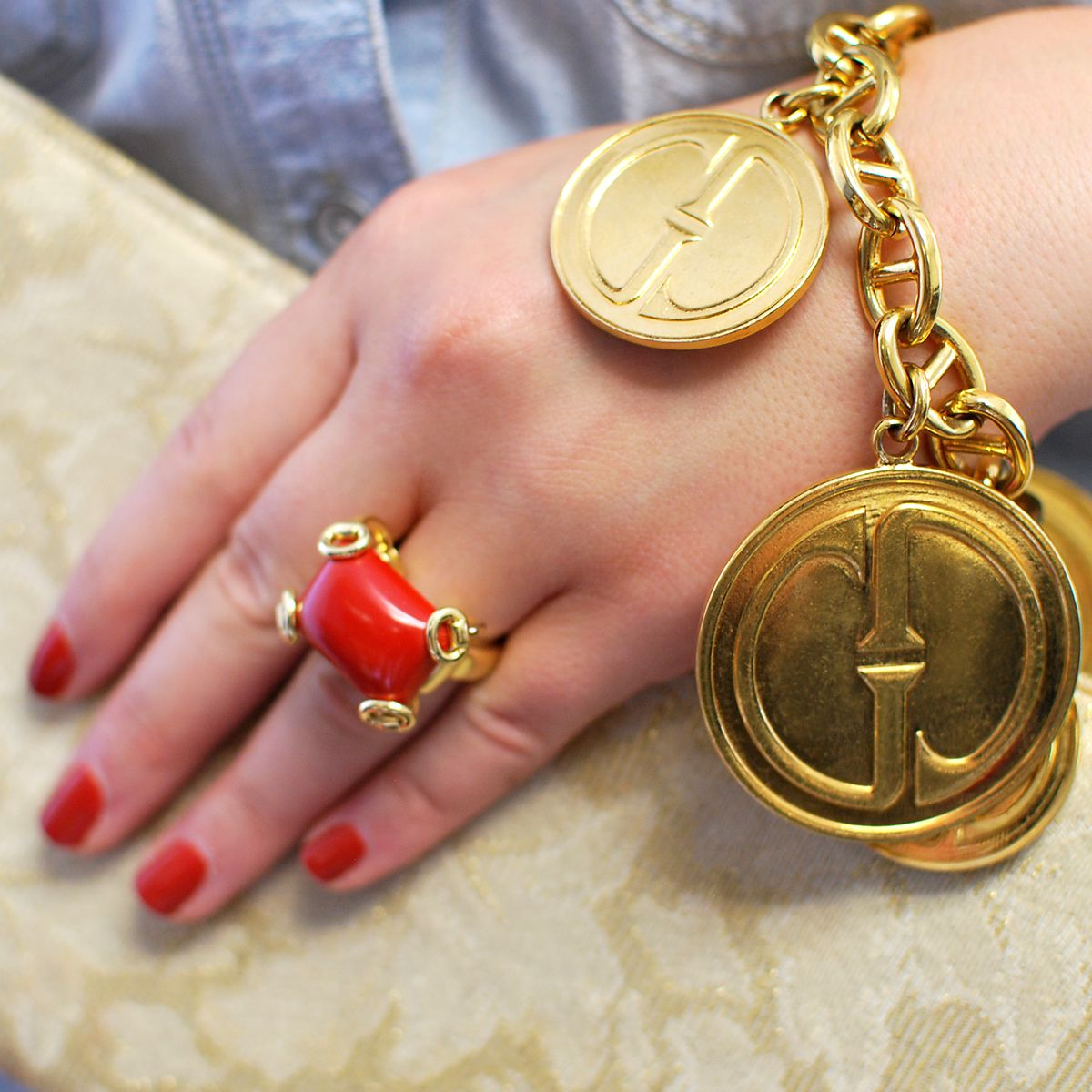 Gucci k gold bit ring u gold charm bracelet cleo walker fine