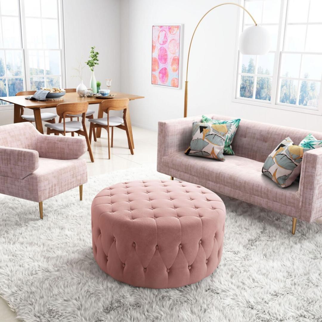 Pink Living Room Table Decor Living Room Ottoman Coffee Table Ottoman Decor [ png ]