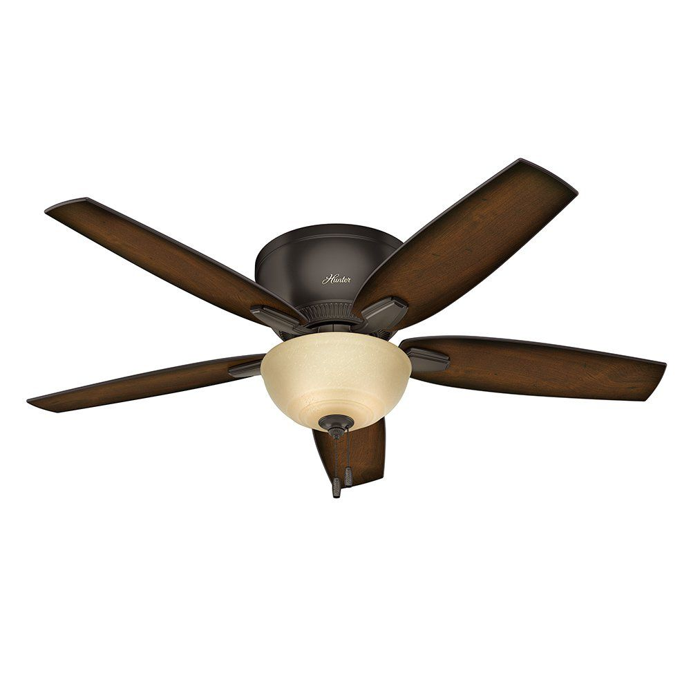 Hunter Fan 52 Low Profile Ceiling In Premier Bronze With A Frosted Amber Glass Light Kit 5 Blade Certified Refurbished Reviews Of The