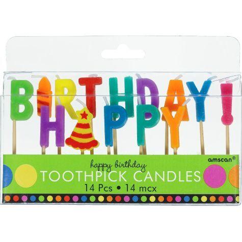 Dots Stripes Happy Birthday Candle Picks