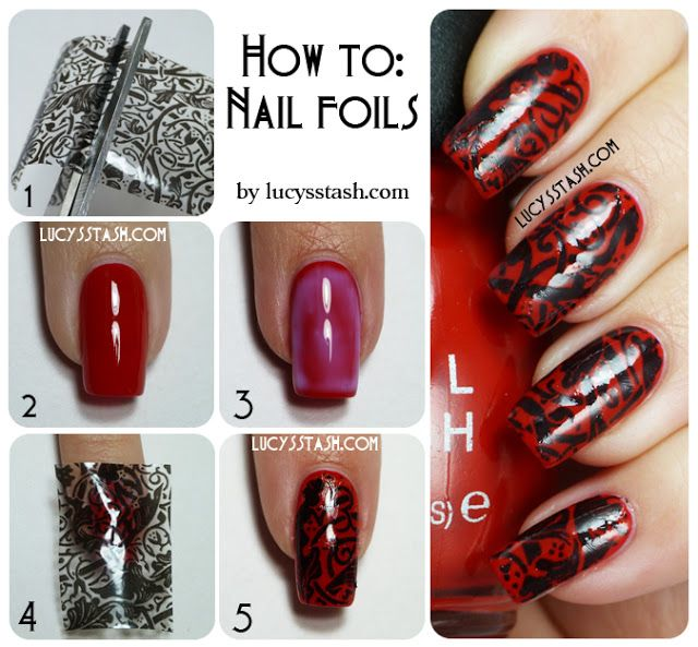 Lucy\'s Stash - Lace Nails Foils tutorial http://www.dollarnailart ...