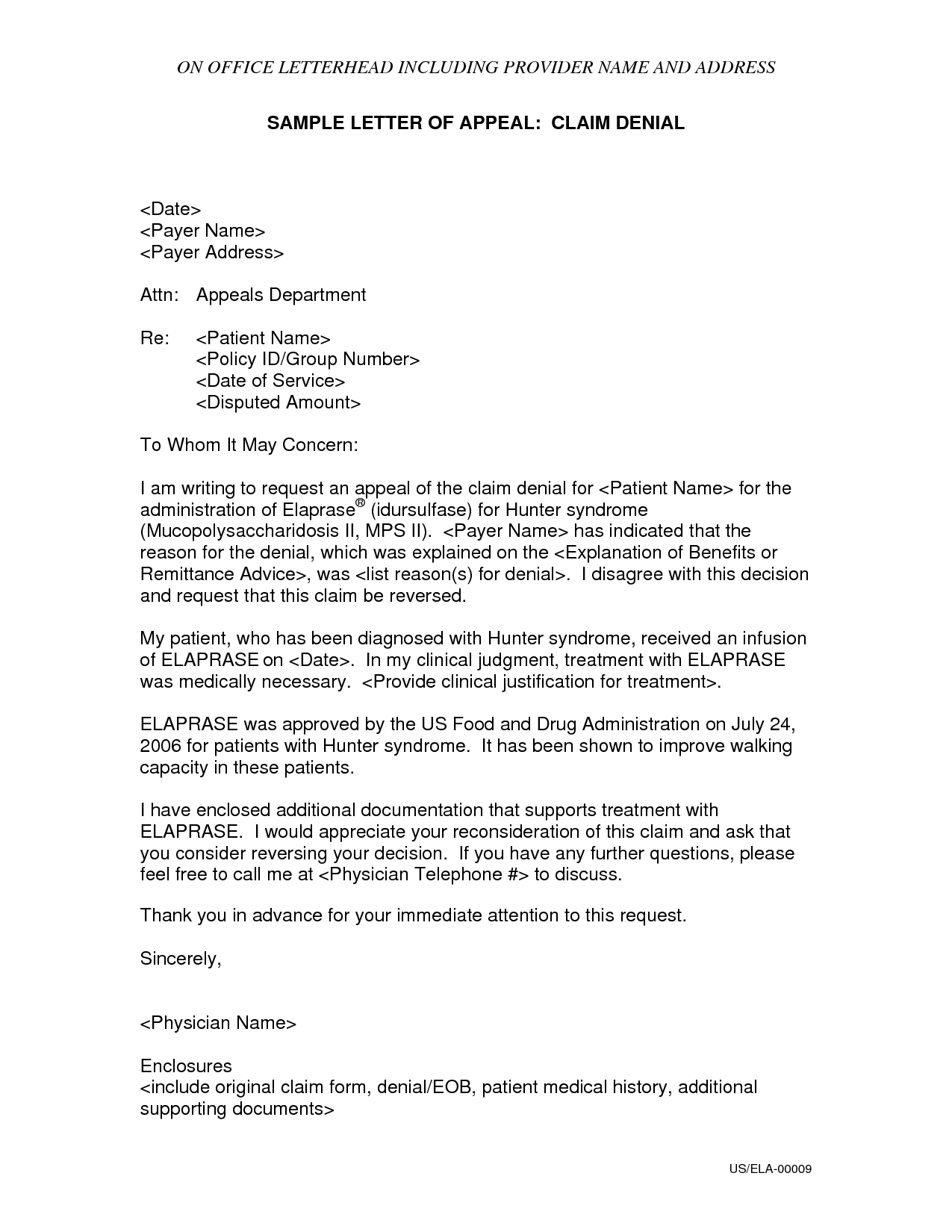 sample letters for insurance claims