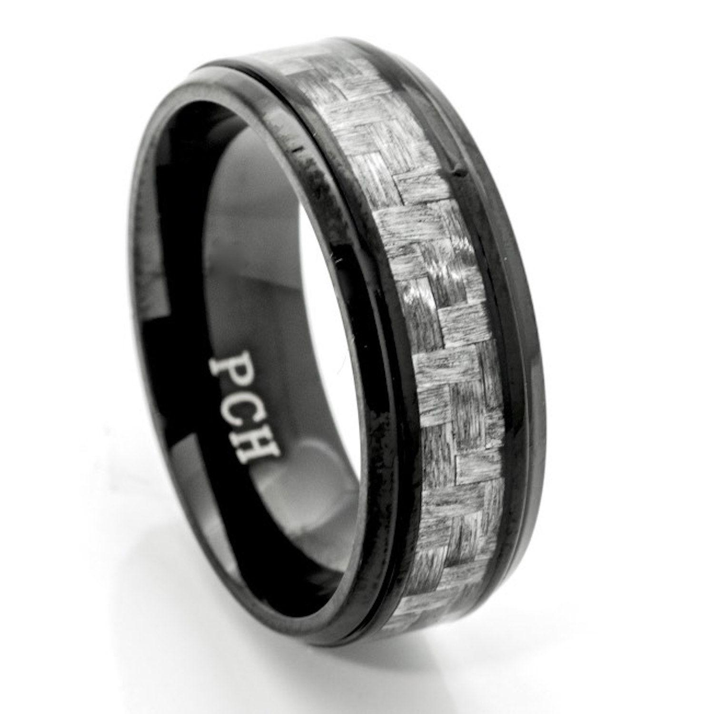 Black Titanium Men's Wedding Band Gray Carbon Fiber Size 8