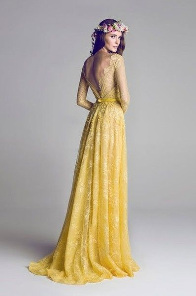 Hamda Al Fahim S Yellow Lace Wedding Dressesyellow