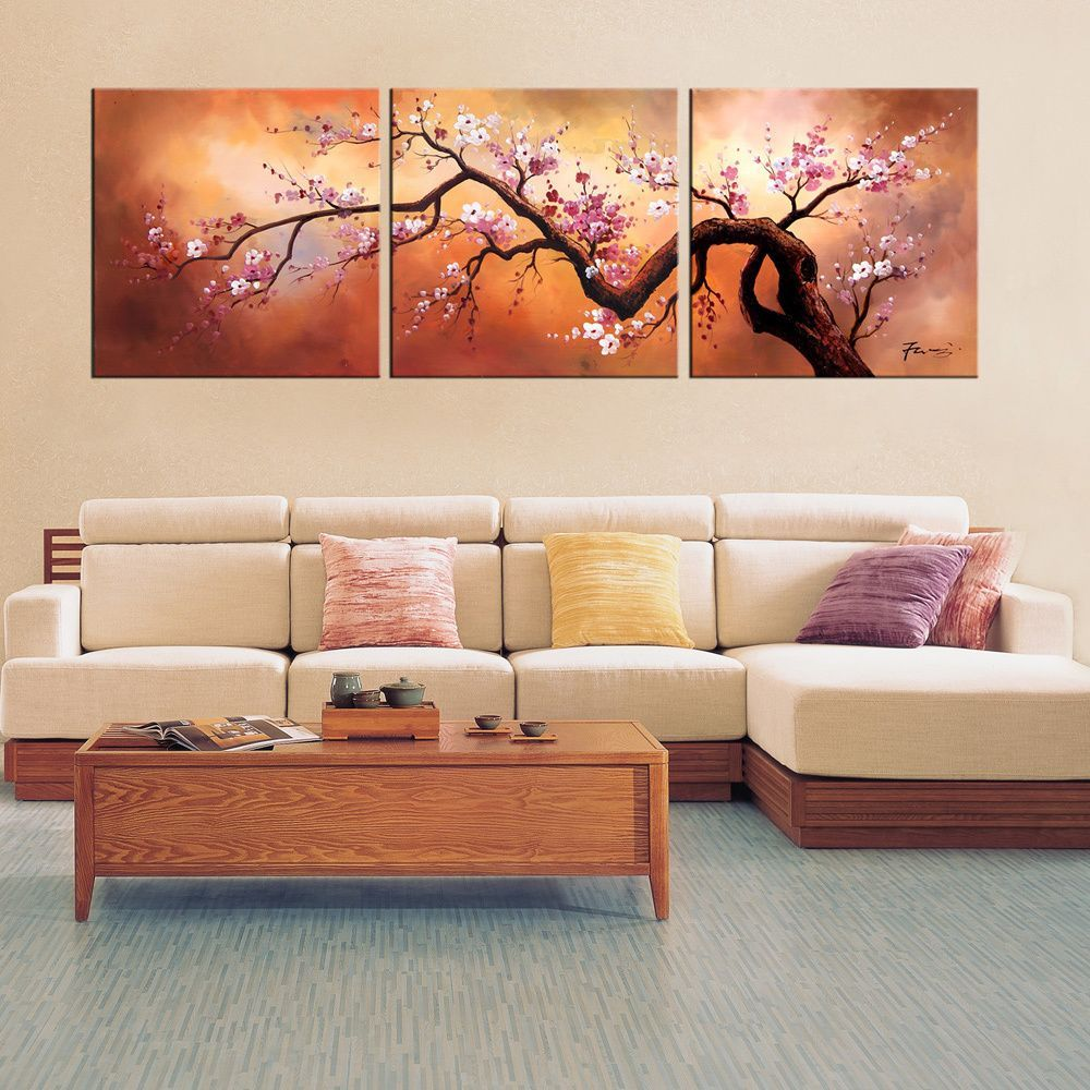 3 Piece Purple Cherry Blossom Muti Panel Abstract Modern: Hand-painted 'Plum Blossom 310' 3-piece Gallery-wrapped