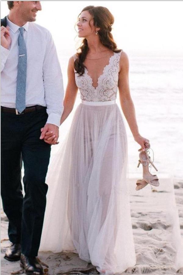 e1f6e0aac2b80 Elegant Simple Cheap Lace Tulle Long Zipper Back Beach Wedding Dresses Z0156