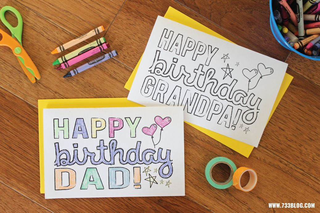 DAD GRANDPA Printable Coloring Birthday Cards