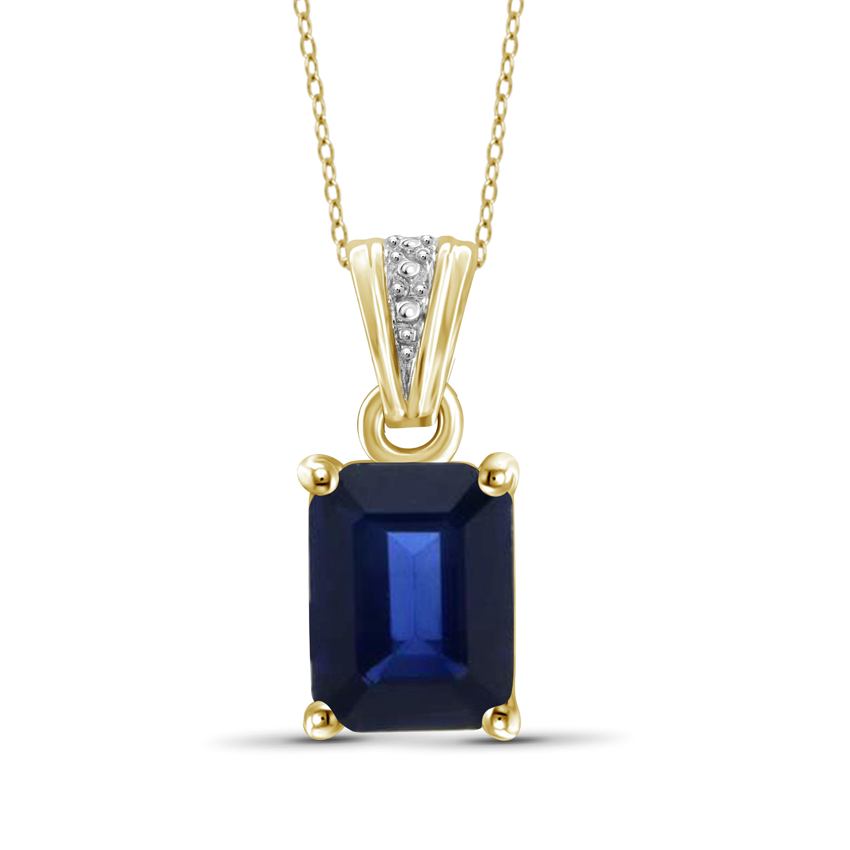 Jewelonfire Sterling Silver 1 7/8ct TW Genuine Sapphire Gemstone Pendant, Women's