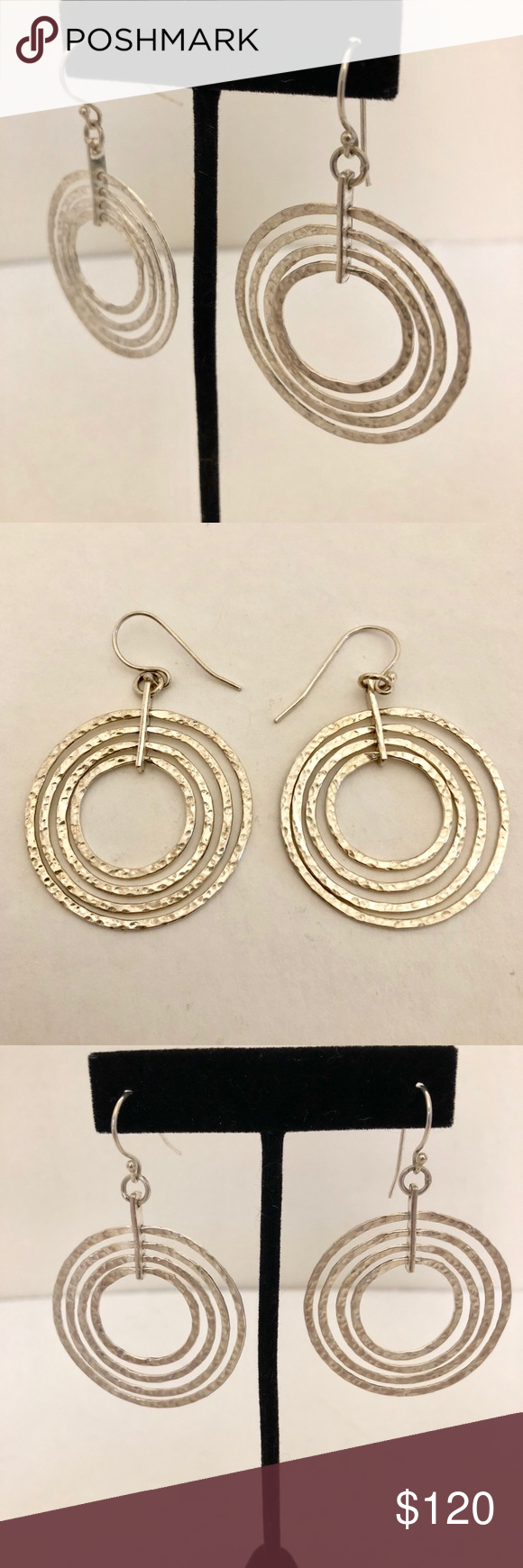 b6e248096 Sterling interlocking textured earrings, 13.5g Striking sterling silver  interlocking and articulated hoop earrings. In lovely, gently worn  condition.