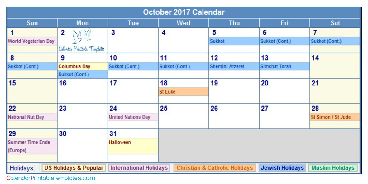 October 2017 Calendar with Holidays http://www ...