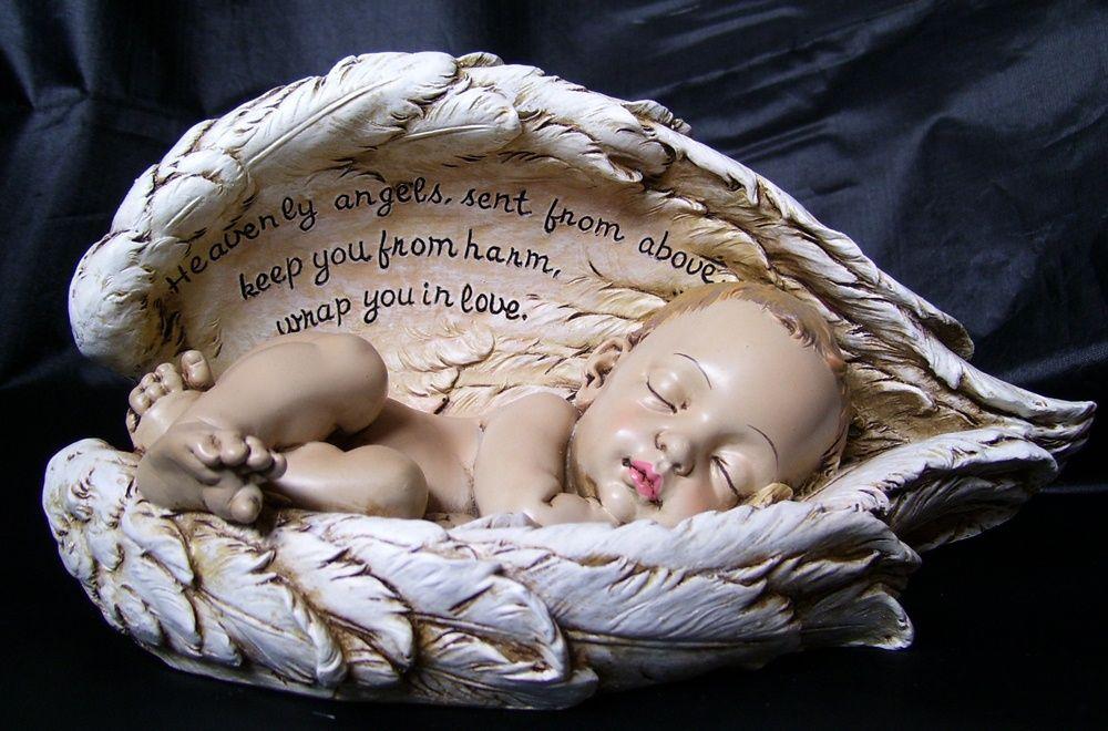 Ajay's Emporium  - Sleeping Baby in Angel Wings Nursery Memorial Figurine…