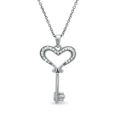 Diamond Accent Small Heart Key Pendant In Sterling Silver