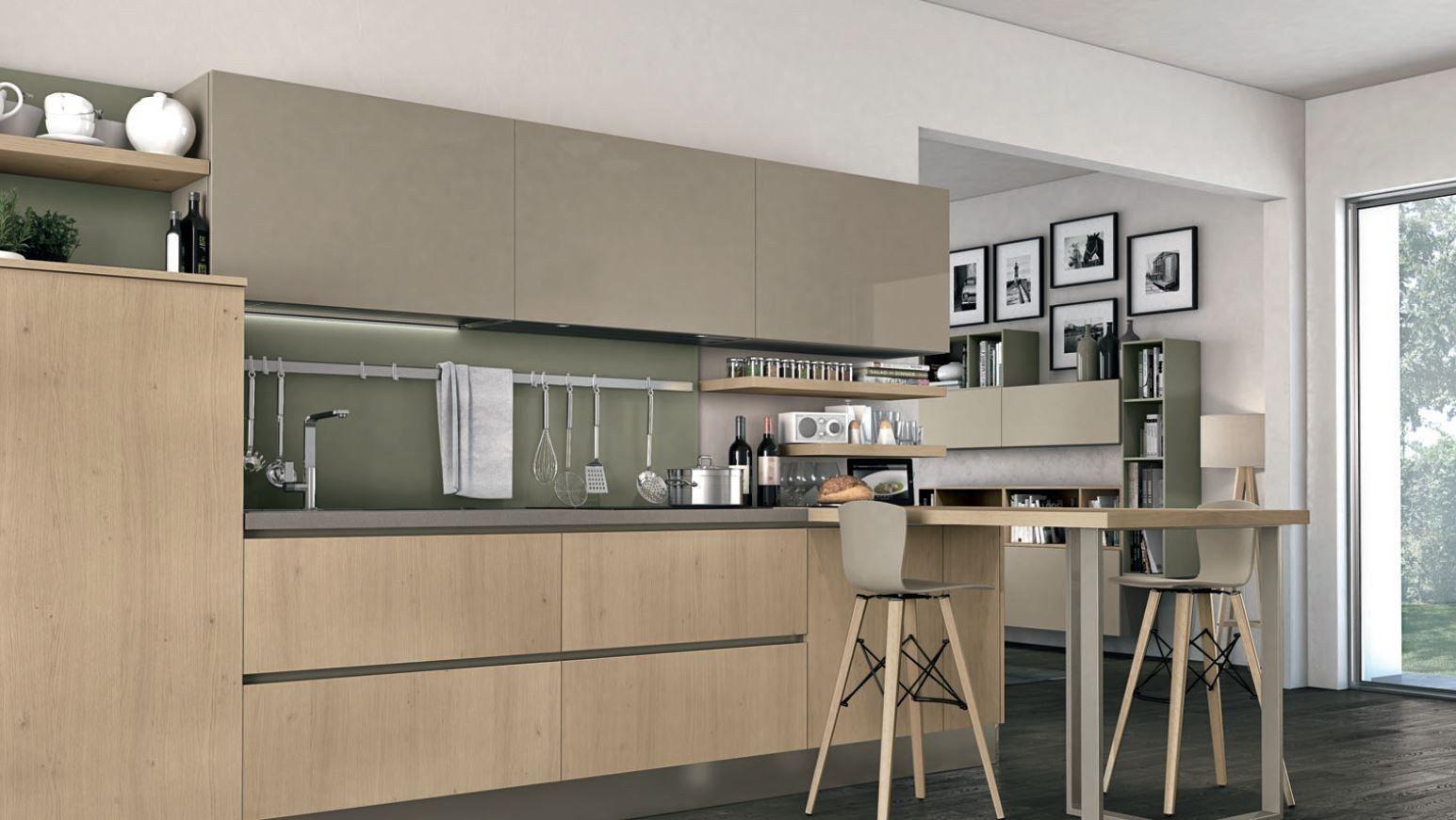 Wood Veneer Fitted Kitchen Clover 04 By Cucine Lube Kitchen Fittings Fitted Kitchen Designs Kitchen Design