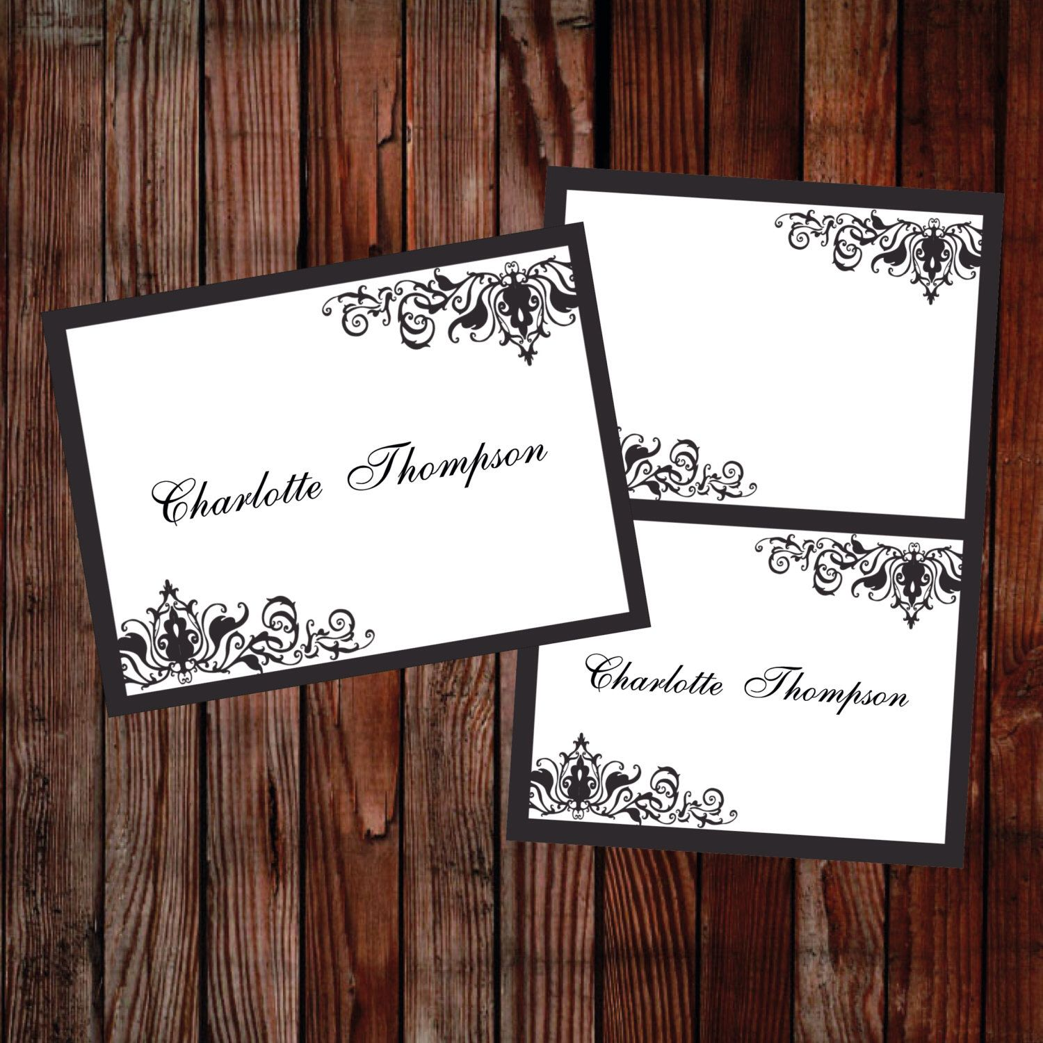 DIY Wedding place cards Black Ornate – DOWNLOADABLE Microsoft word template damask printable template