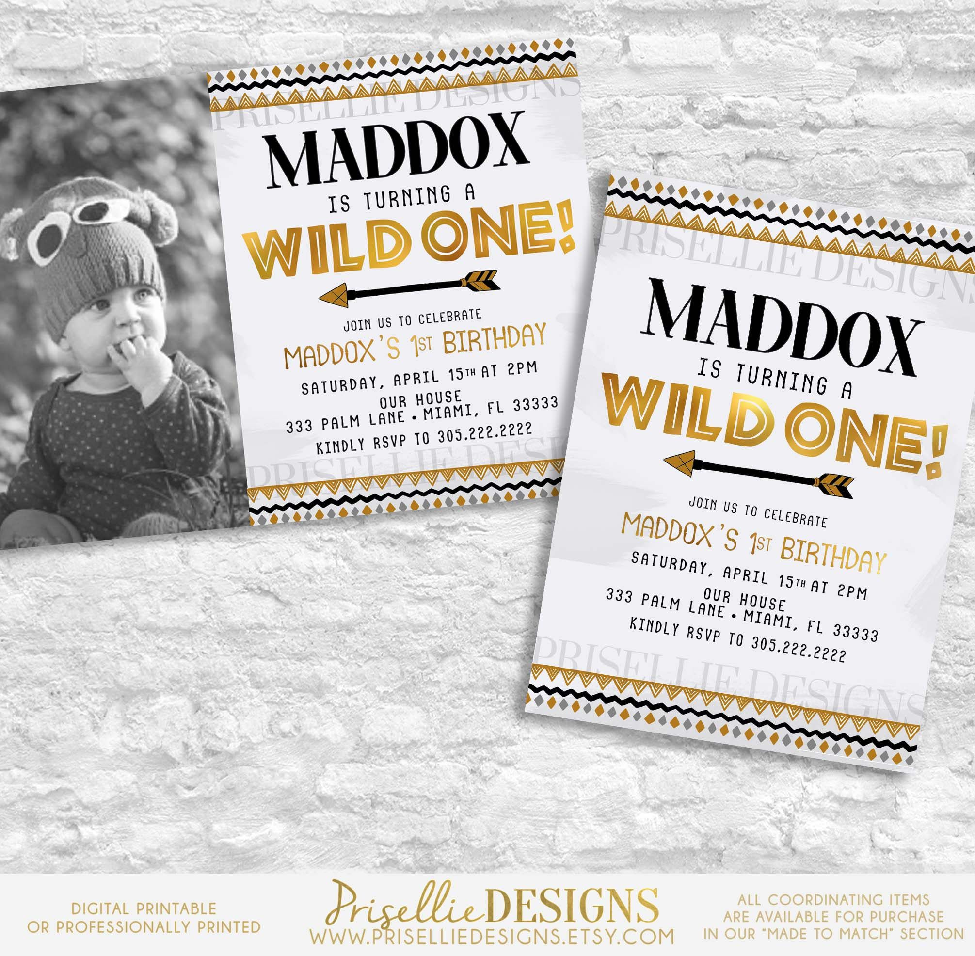 A Wild One Birthday Invitation, Boys First Birthday Invitation, Boho ...