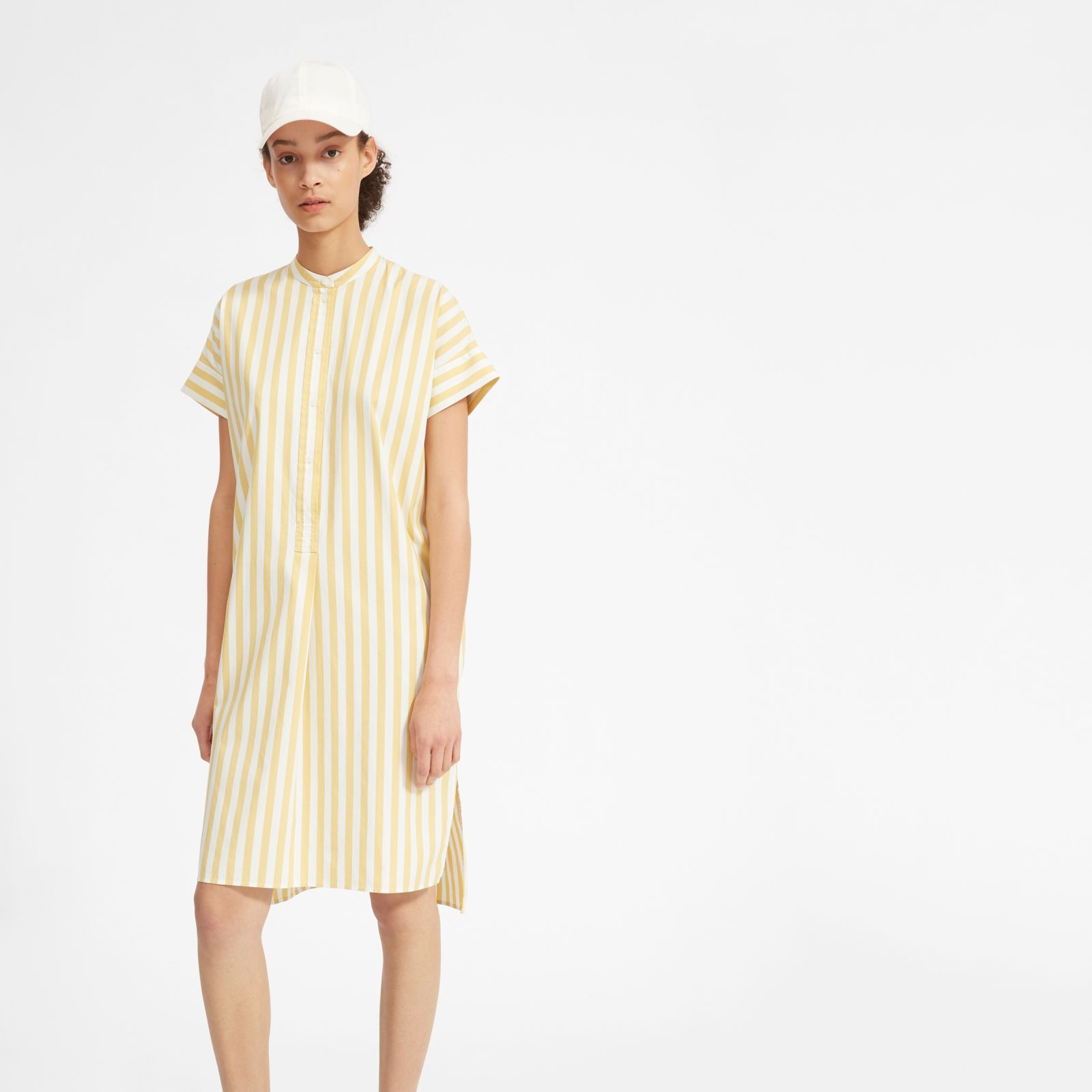 7639255949c4 Women's Cotton Popover Midi Shirtdress by Everlane in Yellow / White Stripe