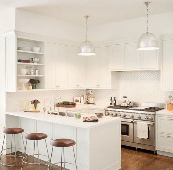 Interior Design For Very Small Kitchen: Well Decorated White Kitchen