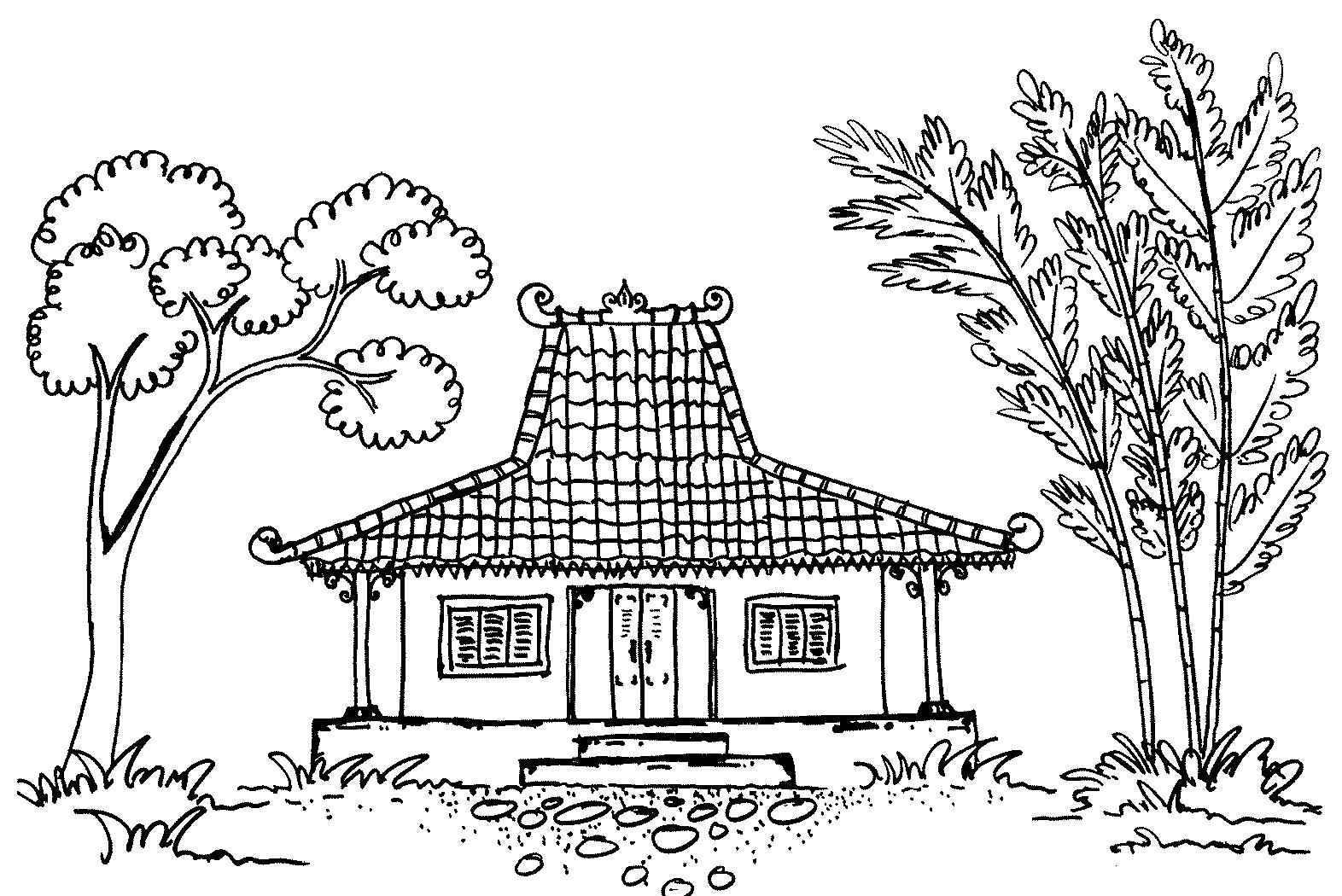 Gambar Mewarnai Rumah Adat Dari Koleksi Beragam Gambar Rumah Adat Gambar Sketsa Pemandangan