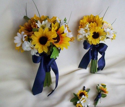 sunflower bouquets marine blue ribbon 4 piece package wedding flowers