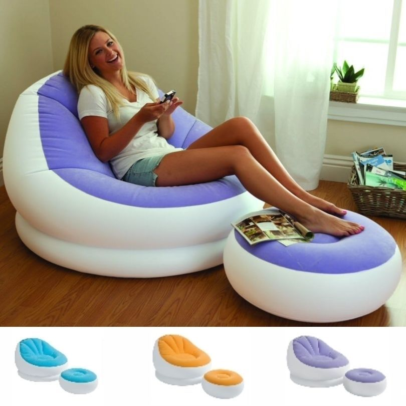 Elegant Inflatable Sofa Chair Adult Bean Bag Soft Light Beanless Intex Camping Seat  New