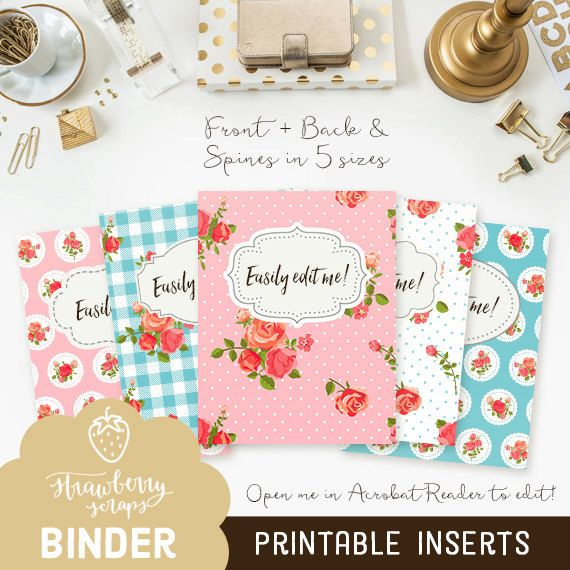 Binder Inserts: COTTAGE CHIC 5x Set Covers & By