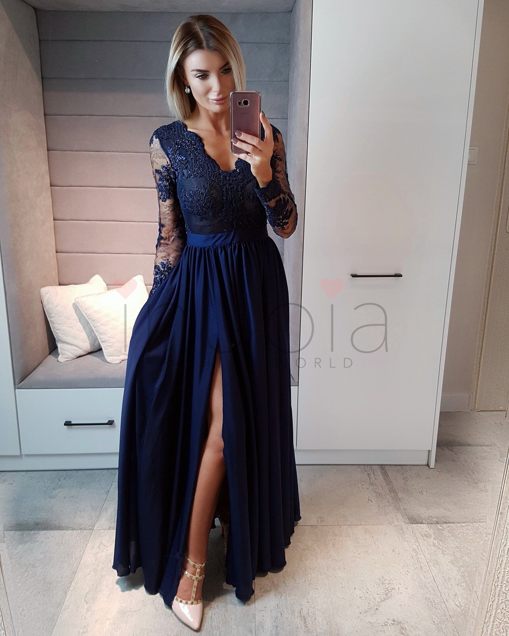 e0ffbad931 Luna - Sukienka koronkowa długa Granatowa inubia.pl - Modna odzież damska