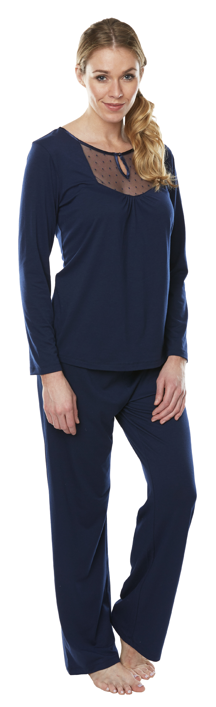 Embrace the elegance of the Dottie Long Sleeve Wicking PJ Set! This luxurious wicking sleepwear features elegant dotted mesh and a satin trimmed keyhole that will beautifully frame your shape. This wicking pajama set is crafted from super-soft fabric with smart moisture-management technology spun into the very thread of the material.