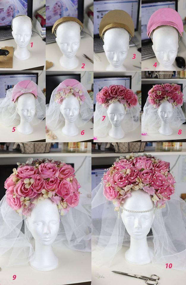 Photo of DIY rose headpiece crafting instructions from Rekii – Make Up & Photos www.rekii-fotogr …