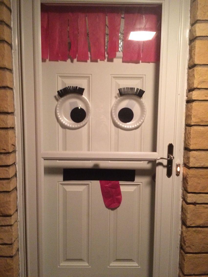 Halloween front door decoration.