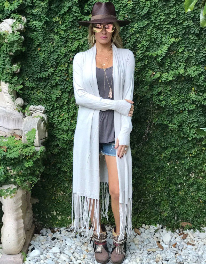 Zella Fringe Duster Cardigan in Pearl | Dusters, Heather grey and ...