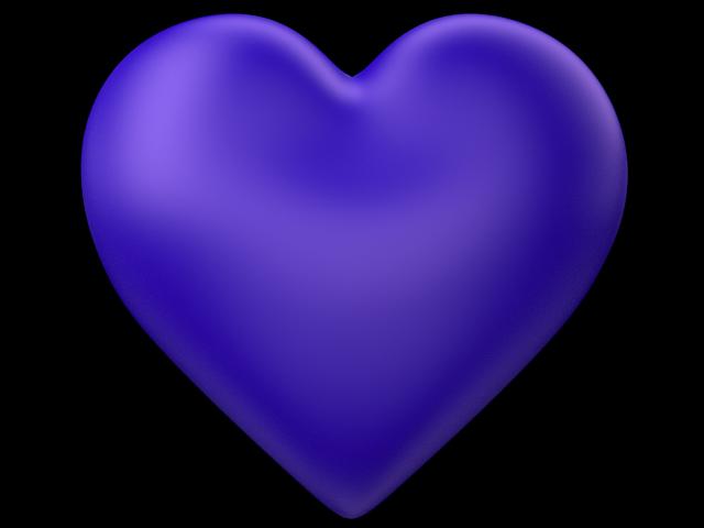 Indigo 3d Love Heart with Transparent Background