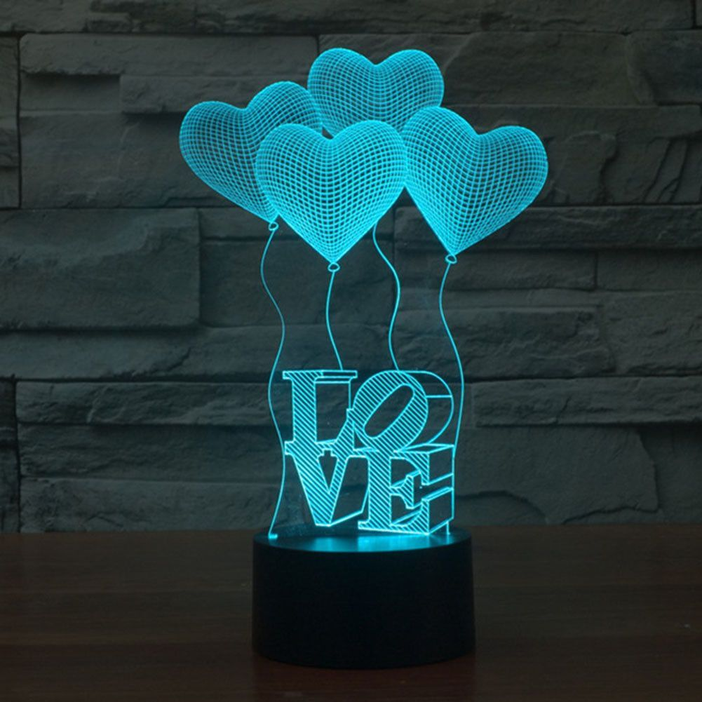 Love Balloons 3d Illusion Lamp 3d Led Lamp Night Light Lamp 3d Night Light
