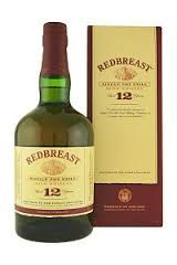REDBREAST 12 YEAR OLD:  A delightful Pure Pot Still Irish whiskey, Redbreast 12 is highly praised by Jim Murray and a host of other notable whisky critics. Named 'Overall Irish Whiskey of the Year' at the 2013 Irish Whiskey Awards, we can't get enough of it.  The nose is nutty and rich. There are notes of dried peels and spice, an oily note and cut fruits. The palate is spice and of good body. There are notes of nuts and citrus and the peel and juice thereof.