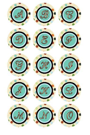 FREE printable alphabet bottle cap sized images.