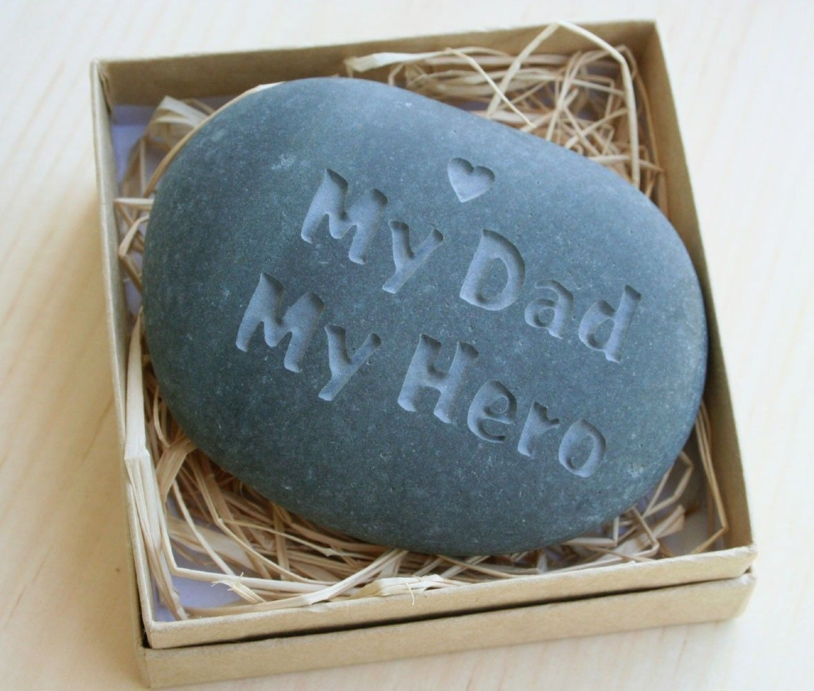 my dad my hero engraved stone paperweight for father grandfather dads wisdom and messages. Black Bedroom Furniture Sets. Home Design Ideas