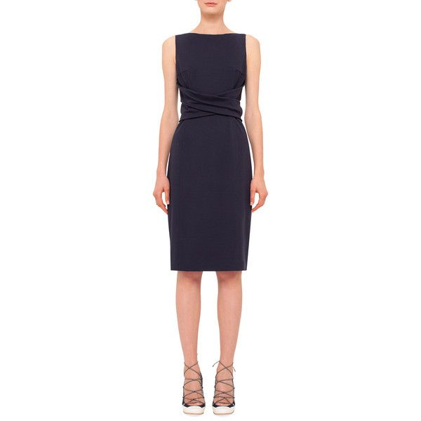 Akris punto Cross-Waist Knit Sheath Dress ($1,060) ❤ liked on Polyvore featuring dresses, navy, boat neck dress, sleeveless dress, blue dress, navy knit dress and blue sleeveless dress