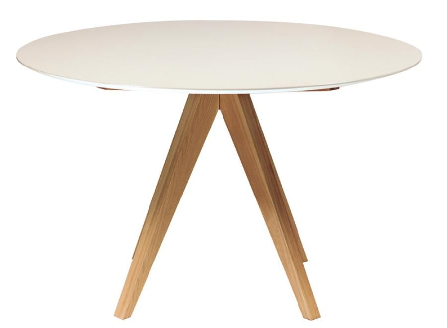 Contemporary White Dining Table Modern Icon Round High Gloss White And Oak Danform