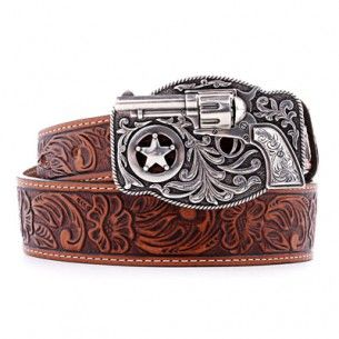 Kids Childs Boy Girl Western TAN Brown Tooled Leather Cowboy Rodeo Belt Buckle