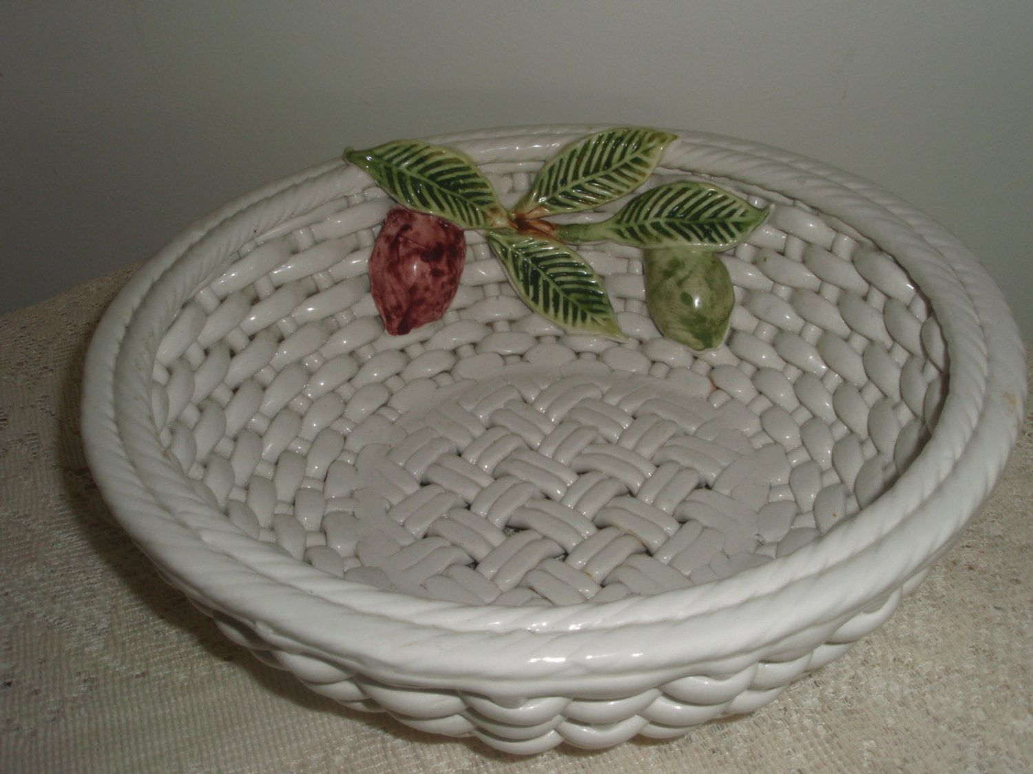 Woven Ceramic Bowl Large White Fruit Handmade In Portugal And Artist