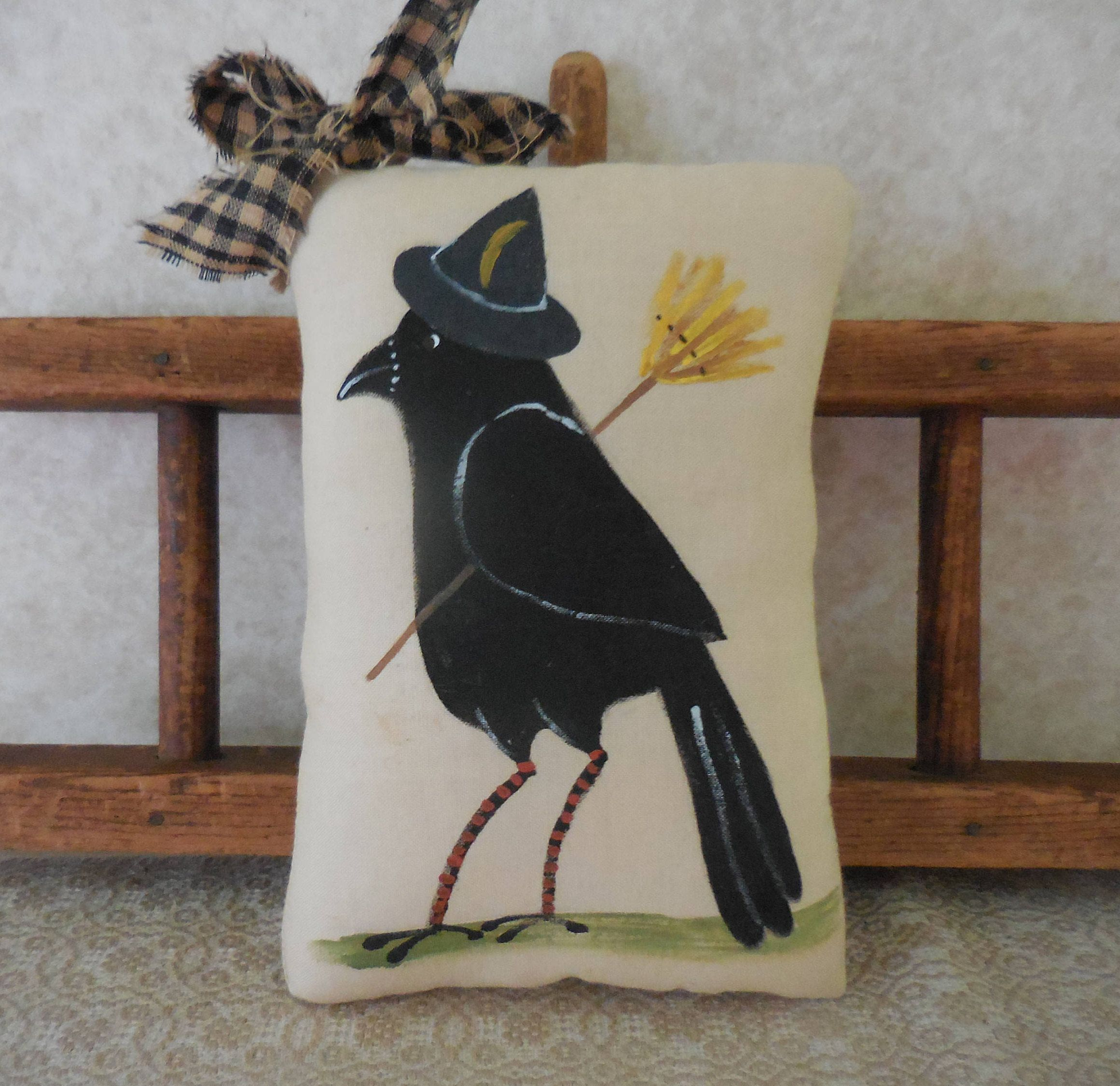 Handmade Fall Crow Bird Small Primitive Autumn Ornament With Black Bow